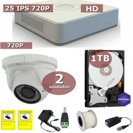 Kit videovigilancia HD-TVI 2 cámaras domo con disco duro de 1 TB especial videovigilancia