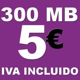 BONO 300MB 4G LTE por 5 euros iva incluido