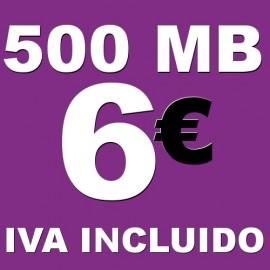 BONO 500MB 4G LTE por 6 euros iva incluido
