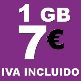 BONO 1GB 4G LTE por 7 euros iva incluido