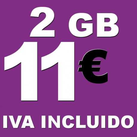 BONO 2GB 4G LTE por 11 euros iva incluido