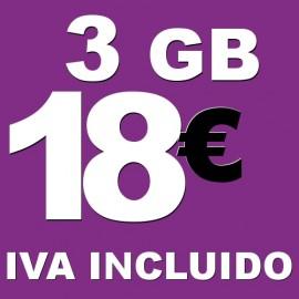 BONO 3GB 4G LTE por 18 euros iva incluido