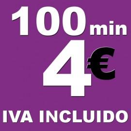BONO voz móvil 100 minutos 4 euros iva incluido