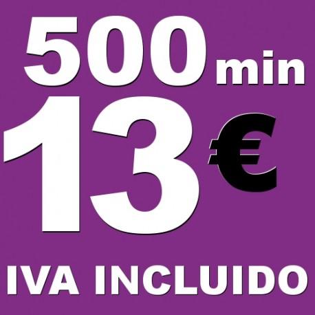 BONO voz móvil 500 minutos 13 euros iva incluido