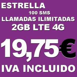Llamadas de voz nacionales fijos y móviles ilimitadas, 2 GB internet 4G y 100 SMS Tarifa Estrella