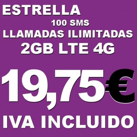 Llamadas de voz nacionales fijos y moviles ilimitadas, 2 GB internet 4G y 100 SMS Tarifa Estrella