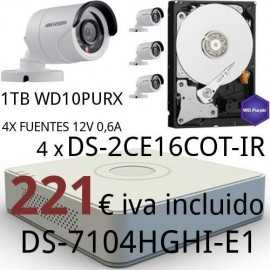 Kit videvigilancia HDTVI interior o exterior 221€ IVA incluido