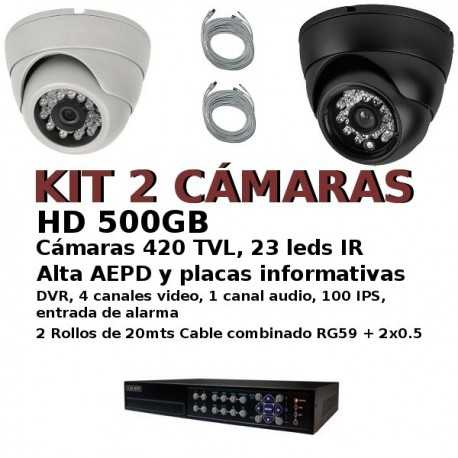 Kit CCTV 2 cam econ con entrada alarmas