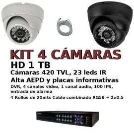Kit CCTV 4 cam econ con entrada alarmas