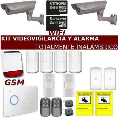 Kit de alarma con videovigilancia para chalé o granjas totalmente inalámbrico